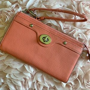 AUTHENTIC COACH wallet wristlet coral leather